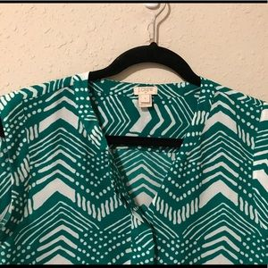 J Crew Green and White Blouse